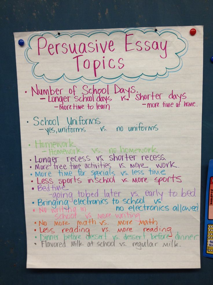 Topics for persuasive essays for  th graders
