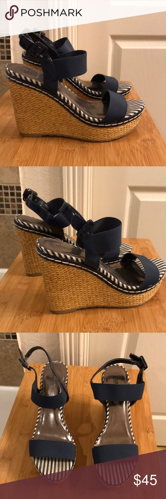 Navy wedges! Very good condition! Comfy Navy wedges!! Very good condition!! Charles David Shoes Wedges