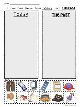 Today and The Past {Social Studies for Kindergarten} Pictu