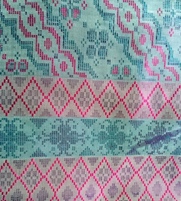 Handwoven Dusty Pink - Turquoise  Fabric