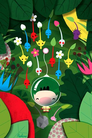 peskimo-illustration:  Olimar is meeting the newbies - Heres a Pikmin wallpaper for you! (Thanks Poolga!)