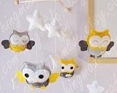 Modern Owls  - Sunflower Yellow  Gray Owls in a starry night  (We can customize colors) @Inna Gartsman @Melissa Bonsall