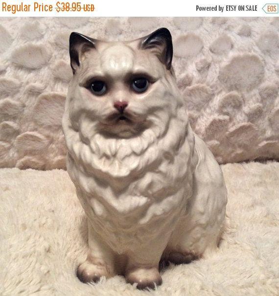 "20 % vente grand Vintage Hagen Renaker Himalaya siamois chat persan Figurine 6.5"""
