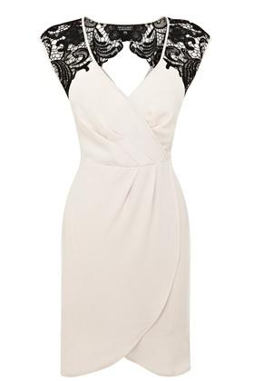 Lace shoulder wrap dress