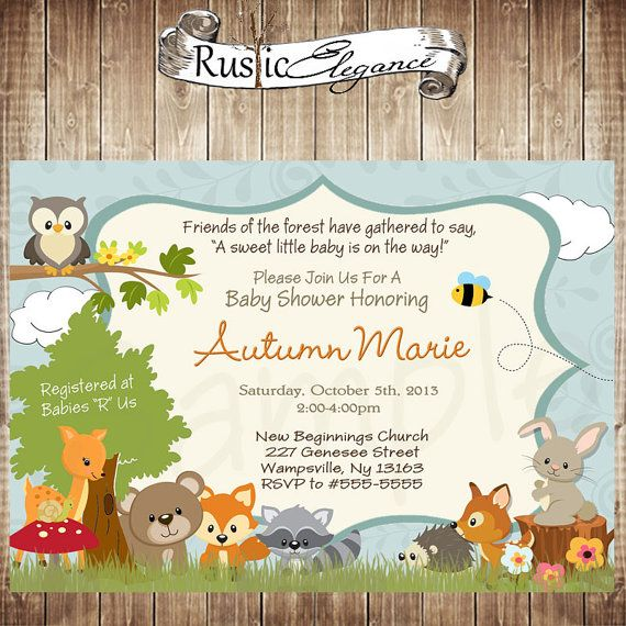 Printable Forest Themed Baby Shower Invitation - Woodland Baby Animal Baby Shower Invitation-Neutral on Etsy, $18.00