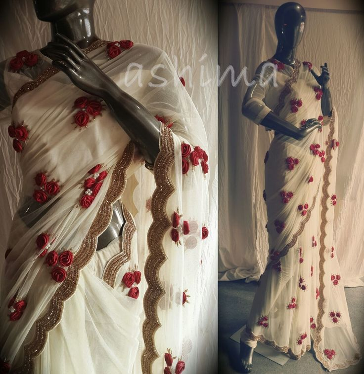 Code:3112160 Cream Colour Soft Net Saree With Fully Embellished Hand Made Satin Flowers & Pearls And Rich Embroidery On Border With Golden Pearls And Diamonds. Price INR:17890/-