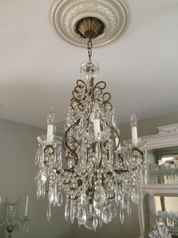 SOLD~ 2/23 Antique French Italian Crystal Chandelier Beautiful in ...