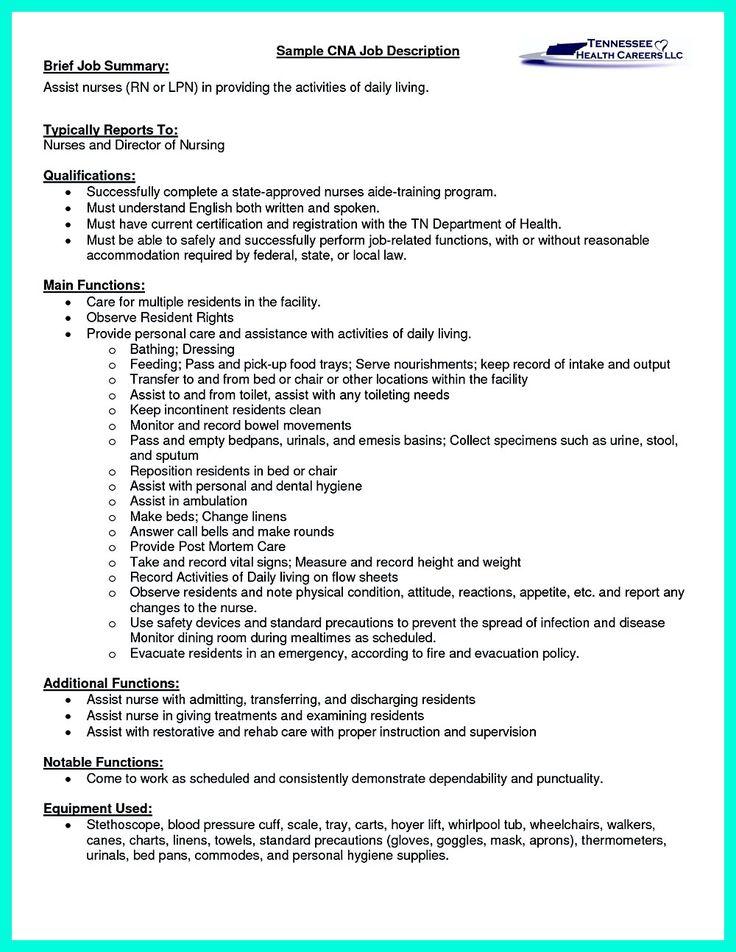 sample of a cna resume