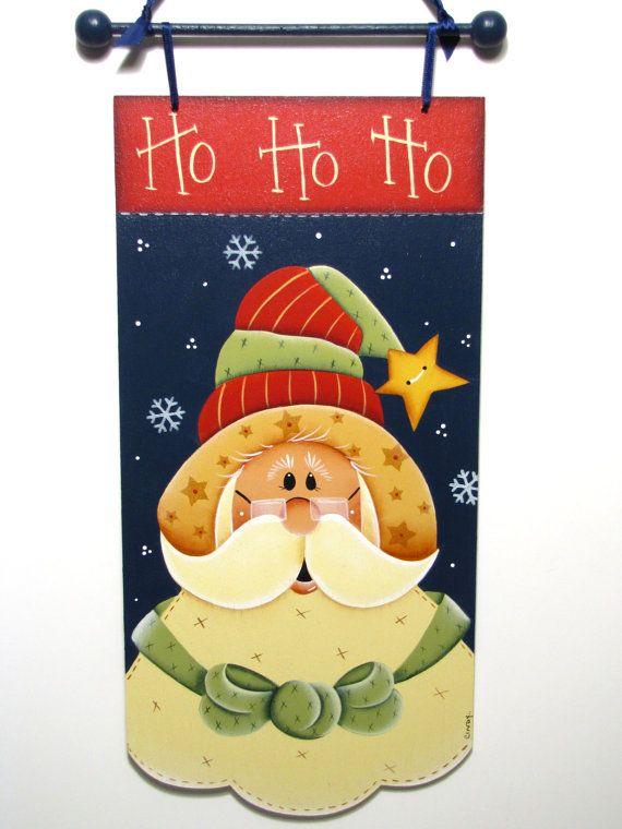 Ho Ho Ho Santa Banner, Handpainted Wood Sign, Christmas Home Decor, Wall Art. $21,95, via Etsy.