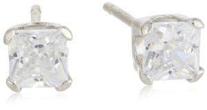 Disney Princess 14kt White Gold 3x3 Cubic Zirconia Girl's Stud Earrings Disney. $42.00. Made in Dominican Republic