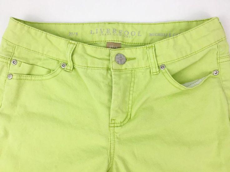 Liverpool Stitch Fix Sz 27 4 Jean Capris Lime Green Neon Shorts   eBay