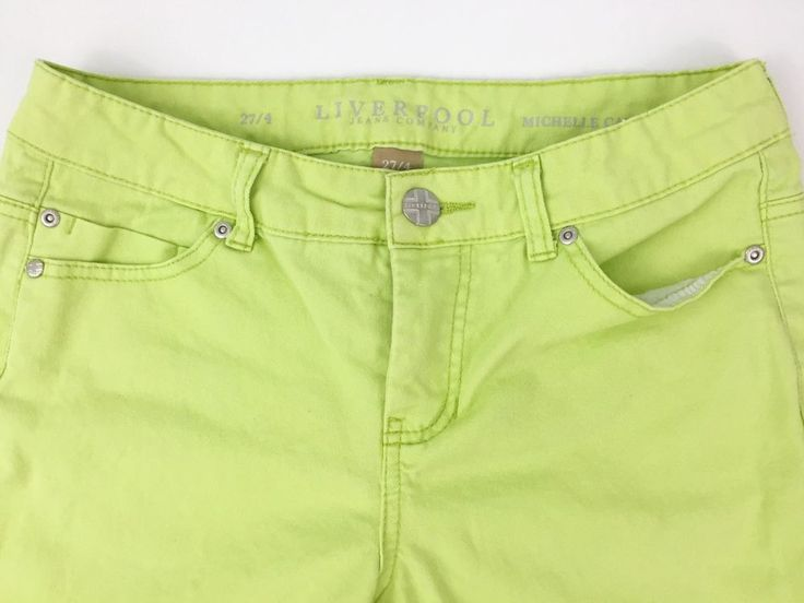 Liverpool Stitch Fix Sz 27 4 Jean Capris Lime Green Neon Shorts | eBay