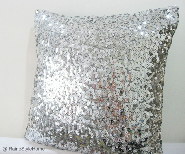 Silver Sequins Embellished Pillow