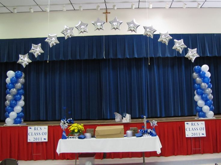 63 best images about 5th grade graduation decor on for Annual day stage decoration images