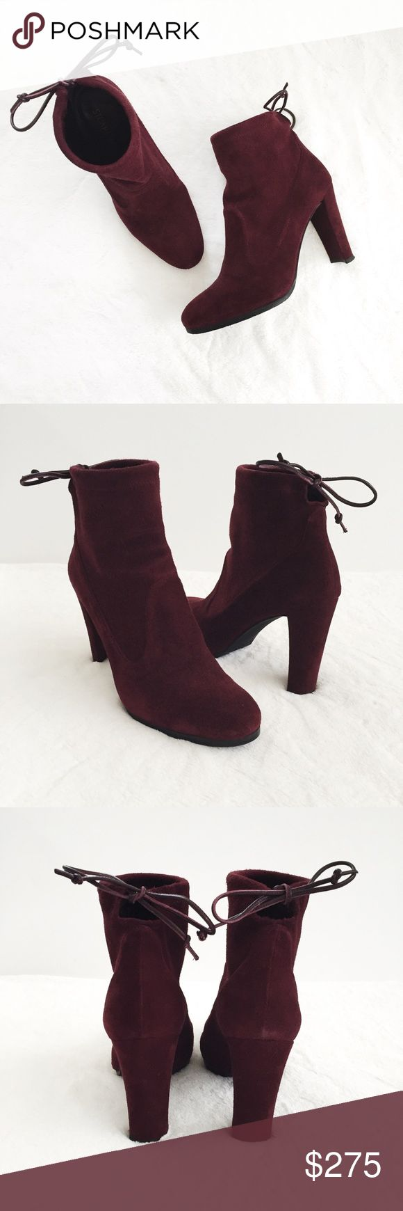 """Stuart Weizman """"Perfection"""" Suede Booties Purchased at the 2016 Nordstrom Semi-Annual Sale, these suede booties have only been worn a handful of times! The wine color (or """"Currant,"""" as it is officially named) is perfect for the upcoming fall season and will be a staple in your wardrobe. Like-new condition. Size 6 with a comfortable chunky 3.5"""" heel and comes with original box. Note: The last picture shows was taken in direct sunlight, so that's why the wine color is brighter and more red…"""