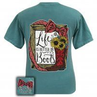 Girlie Girl Women's Preppy Boots Seafoam T-Shirt [1339PBSF]