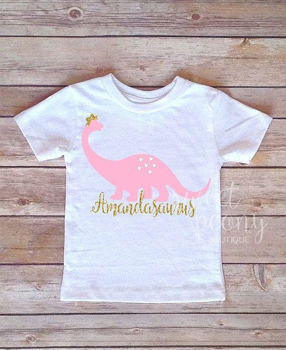 Toddler Girl Dinosaur T-shirt  pink dinosaur by SweetPeonyBoutique