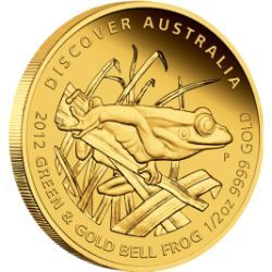 2012 Discover Australia – Green and Gold Bell Frog 1/2oz, 1/10oz, 1/25oz Gold Proof Coins