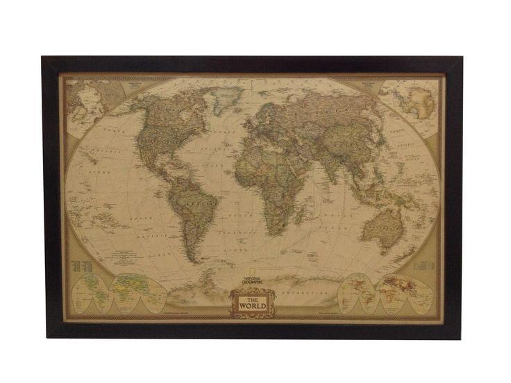 Mapa Pineable, marco color nogal. 77,5 x 52,5 cm