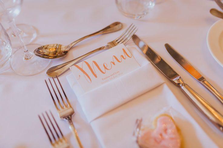Pretty stationary for your tables. Photo by Benjamin Stuart Photography #weddingphotography #weddingstationary #peachtheme #menu #weddingideas #receptiondecor