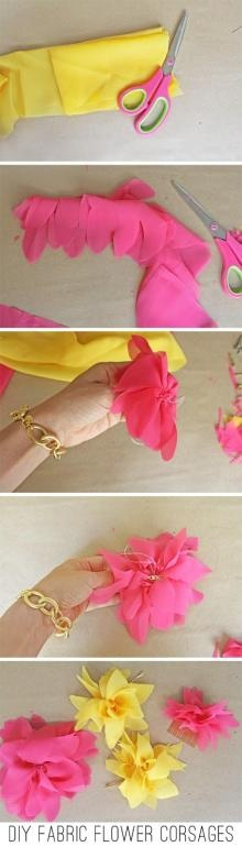 Fabric Flower Corsages and Poufs