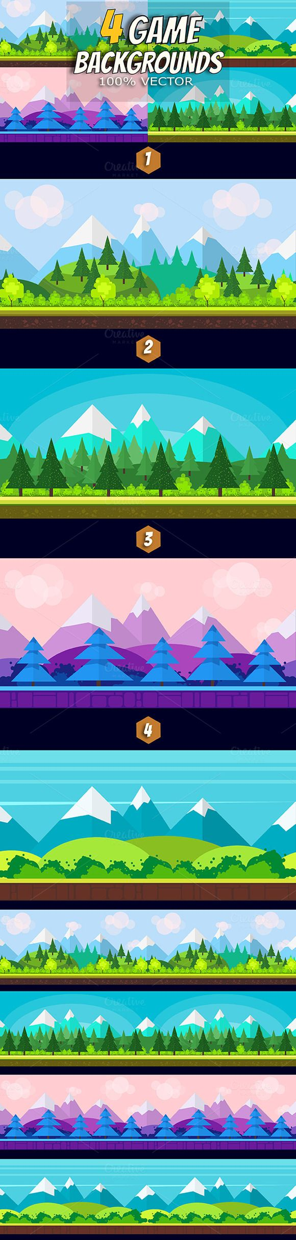 4 Flat Game Parallax Backgrounds by VitaliyVill on @creativemarket