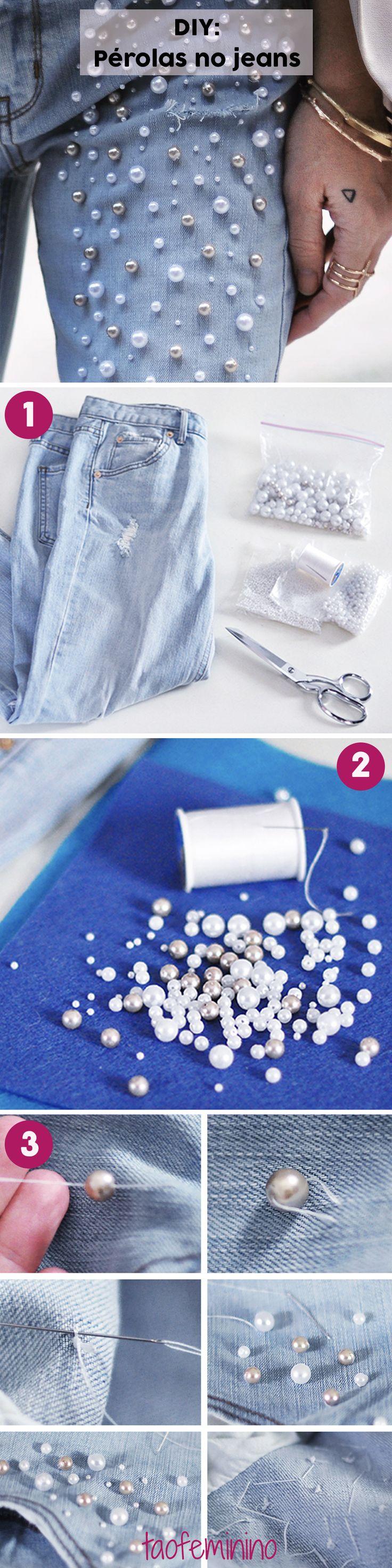DIY - Como aplicar pérolas no jeans