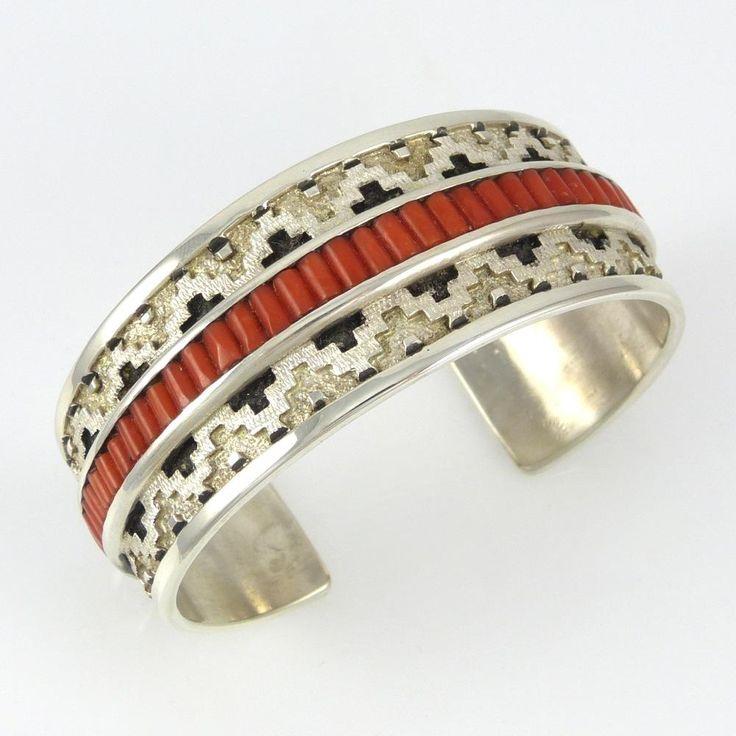 Cuff   Dan Jackson (Navajo). 'Navajo Rug'.  Sterling silver with patina and coral.