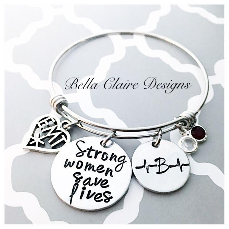 Bracelets For Las Emt Ems Paramedic Initial Bangle Bracelet Strong Women Save Lives Life Saver Nurse Ban