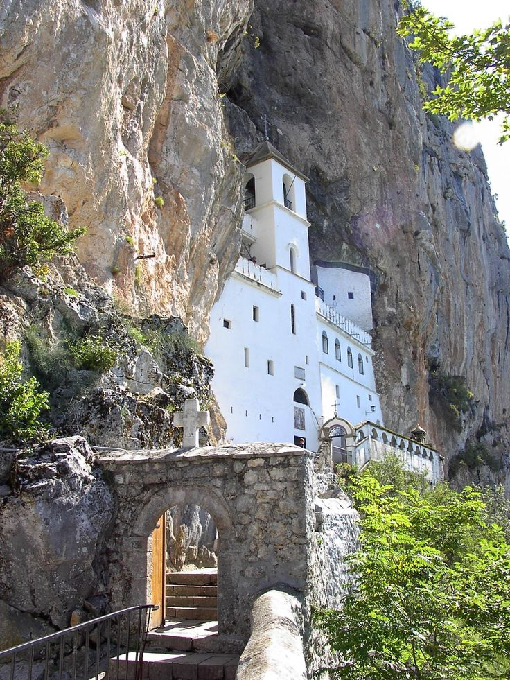 The Monastery of Ostrog is a monastery of the Serb Orthodox Church located along the almost vertical cliff, high on the mountain call Ostroska greda (beams of Ostrog) with a view of the plains Bjelopavlici. It is in north part of Montenegro near Niksic, near village Bogetici.