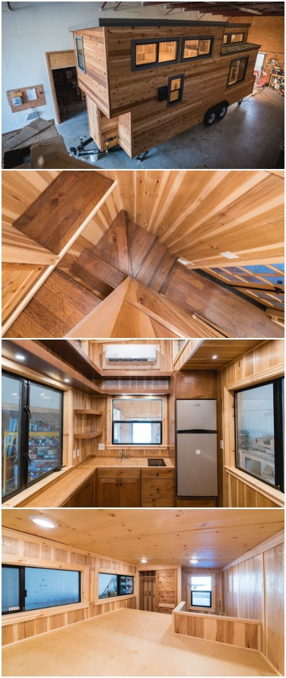 California Tiny House Builder Creates Wooden Beauty on 24ft Trailer California Tiny House builders out of Fresno, California have a goal to build the best product possible at an affordable price. Their certified movable tiny houses are truly beautiful and it's easy to see they have an eye for details and craftsmanship. This particular model is built on a 24-foot long trailer and starts around $45,000 which gets you cedar tongue and groove siding and a metal roof.
