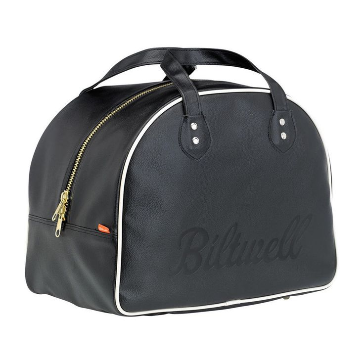 """Biltwell Rover Helmet Bag -- It might look like a 1950s bowling ball bag but first impressions can be deceiving. Biltwell state the bag's design has """"styling inspired by the retro-chic carry-ons Pan-Am pilots and '70s F1 drivers used for weekend getaways to Cabo and Waikiki."""" The Rover Helmet Bag has a distinctive black vinyl construction with white piping to define the outside. On the inside, a bright orange, brushed interior protects your helmet on all sides thanks to a quilted stitch…"""