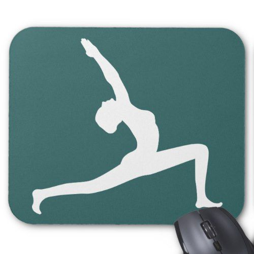 Yoga Pose White Silhouette Teal Blue Mouse Pads