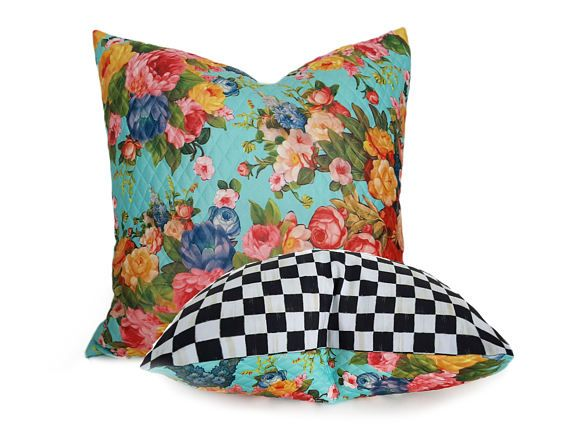 Whimsical Floral Pillow Cover Eclectic Throw Pillows