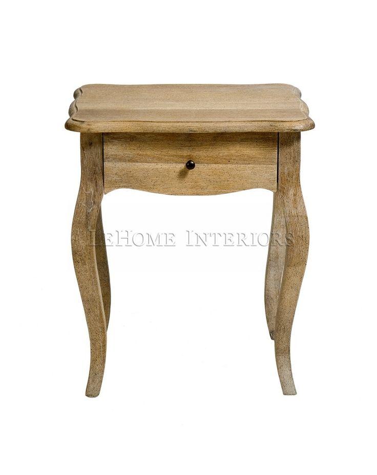 Тумбочка Riviere Side Table. Открытая тумбочка на витых ножках с выдвижным ящиком, выполнена из массива дуба.