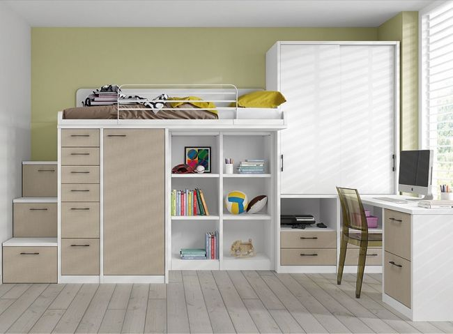 etagenbett mit aufbewahrung beige schrank limba holz. Black Bedroom Furniture Sets. Home Design Ideas