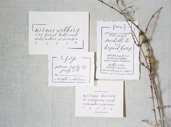 customizable calligraphy wedding invitation suite fully handwritten - Calligraphy Wedding Invitations