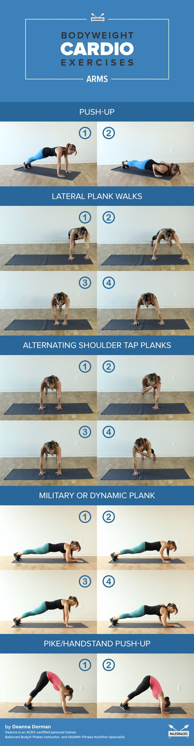 Arm Exercises - Lots of body weight exercised, no equipment needed