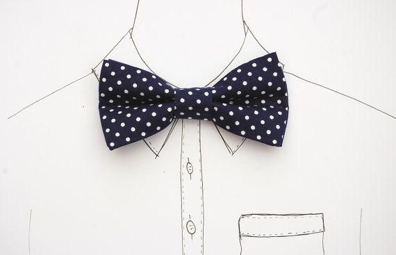 Navy Polka Dot Bow Tie / Dickie Bow by DickBeau on Etsy