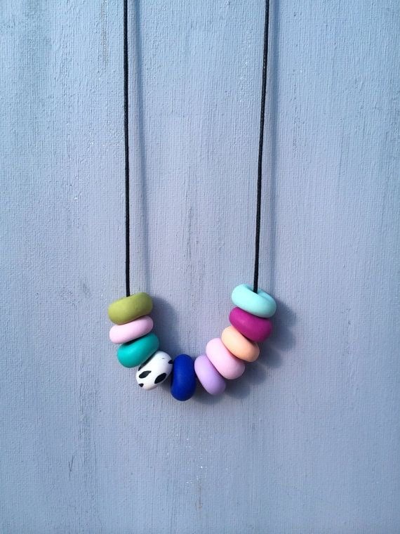 Polymer clay bead necklace by shyviolet82 on Etsy
