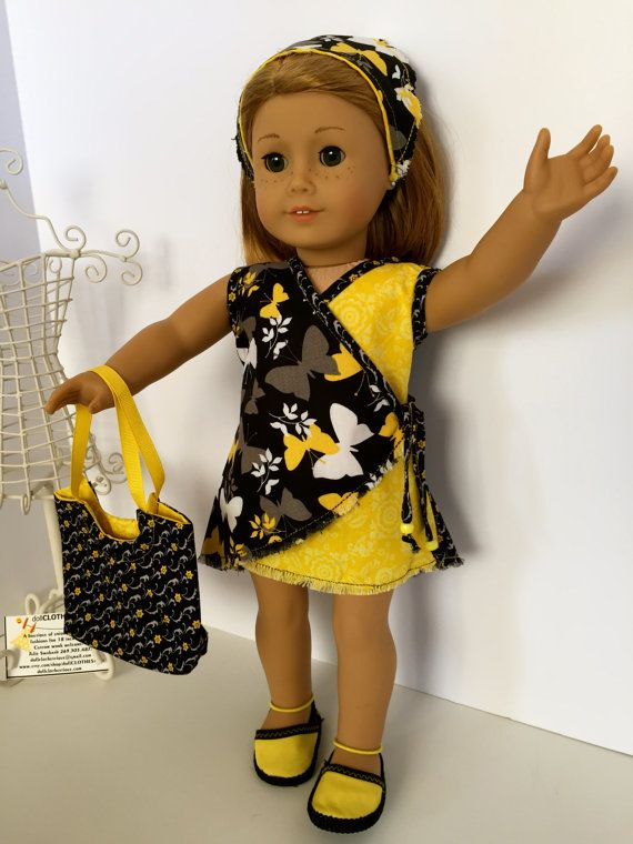 "BlackandYellow print ""It's a Wrap Dress"" by DollCLOTHEStique on Etsy. Find the It's a Wrap Dress pattern at http://www.pixiefaire.com/products/its-a-wrap-dress-18-doll-clothes"