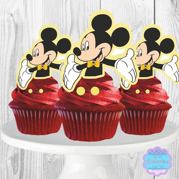 PRINTABLE Mickey Mouse Cupcake Toppers, Cupcake Picks INSTANT DOWNLOAD