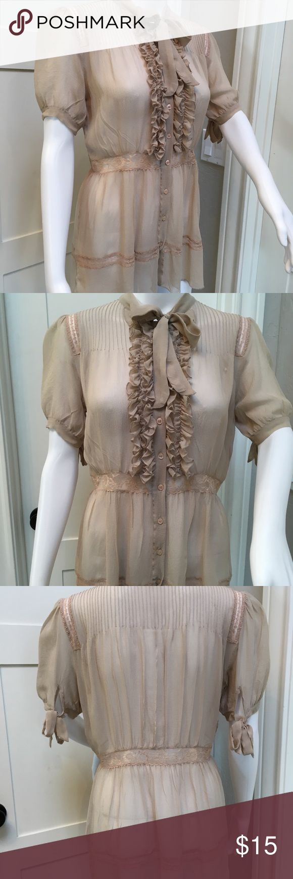 100% Silk Sheer Blouse Sz S Subtle sexy in this sheer nude/tan color silk blouse. Looks killer over a nude cami and black skinny's and stilettos. Great as a layering piece under a blazer as well.   Very delicate, well cared for.  Please ask questions. Thanks for looking! Hanna Jo Tops Blouses