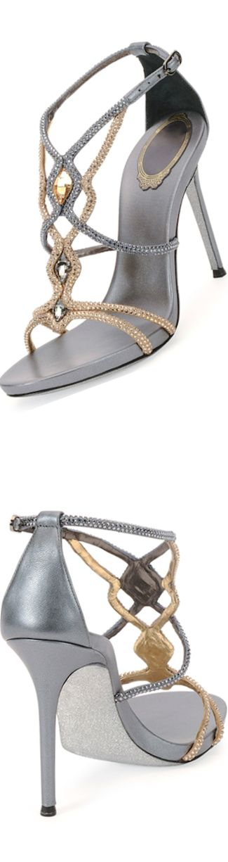 Rene Caovilla Two-Tone Jeweled Sandal