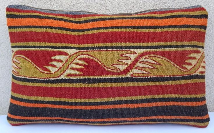 12x20'' Kelim Kissen,Area Rug Hand Made Ethnic Striped Kilim Lumbar Pillow Cover #Handmade