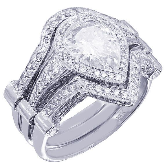 14k white gold pear shape diamond bezel engagement ring and two bands 3.35ctw on Etsy, $9,400.00