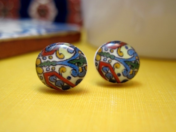 miniature mexican talavera earrings