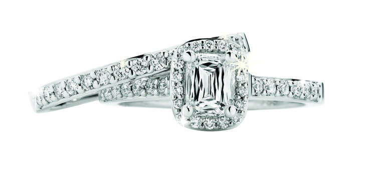 18ct White Gold Rare Crisscut Diamond Centre 0.75ct Diamond Engagement Ring $4999 with 0.23ct Diamond Wedding Band $1299