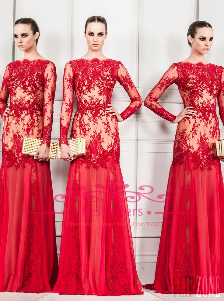 Discount Red Evening Dresses with Long Sheer Lace Sleeves Off the Shoulder Neckline Chiffon Skirt Nightwear Women Party Gown BO3471 Online w...
