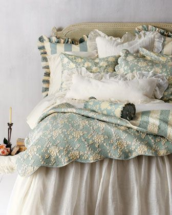 "Pine Cone Hill ""Trellis"" sateen duvet covers and shams along with ""Madeline"" floral quilt & shams with scalloped edges.  Love the soft color!"